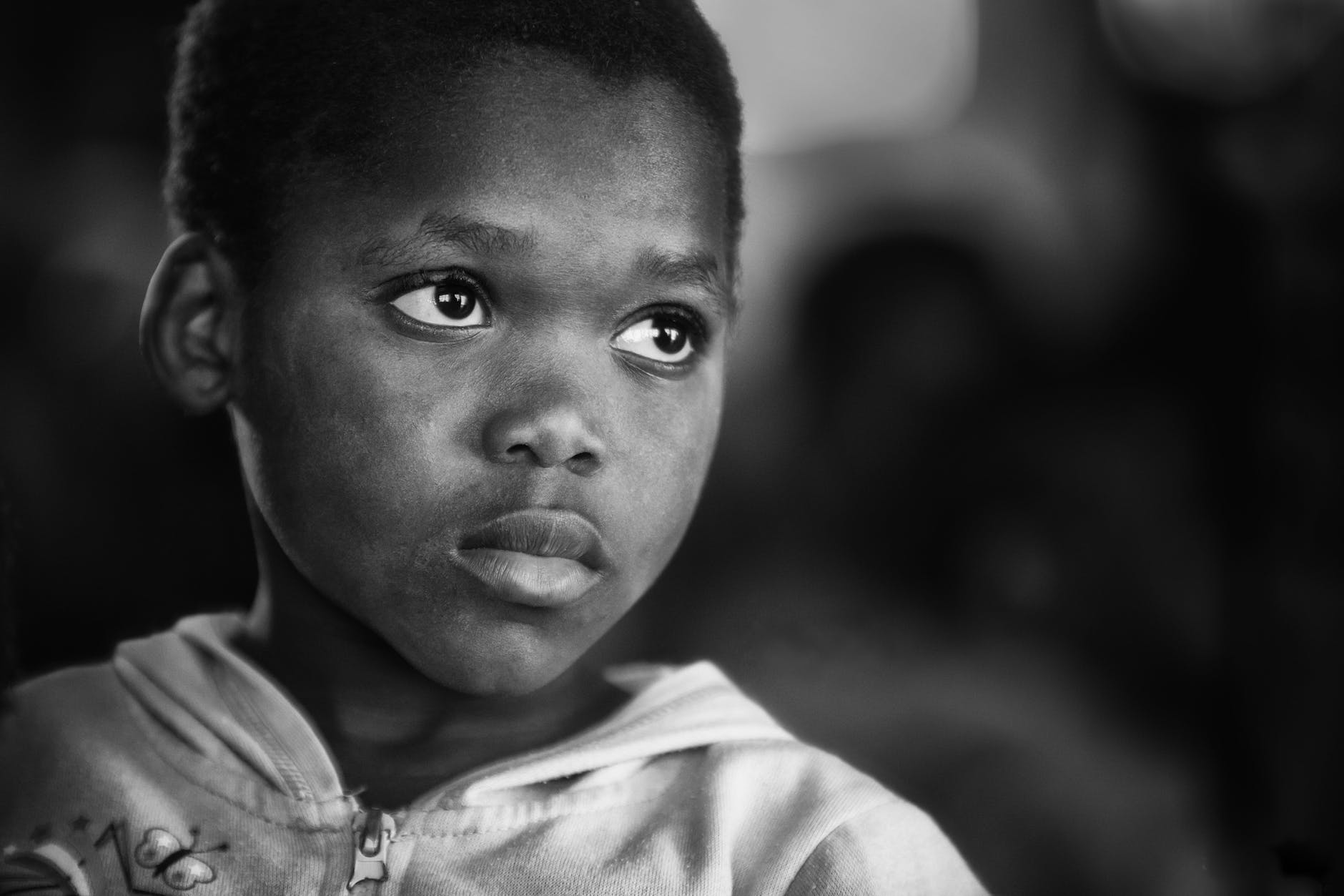 black and white boy child face