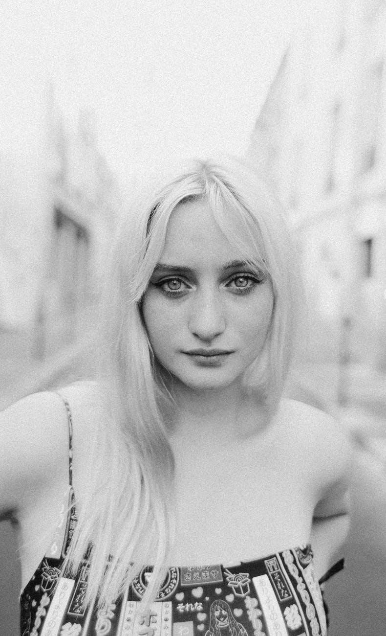 charming woman with big eyes looking at camera