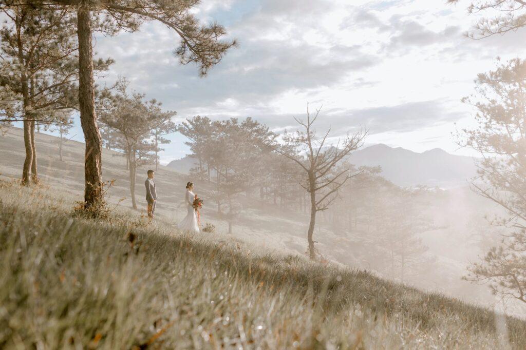 elegant wedding couple standing on foggy hill